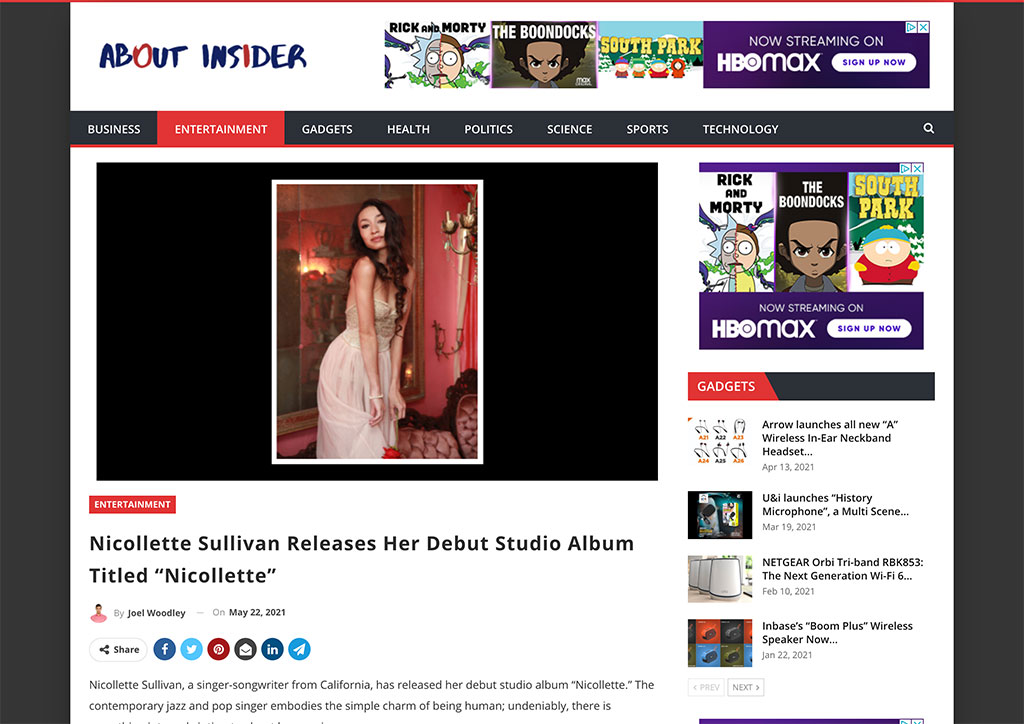 "ABOUT INSIDER - Nicollette Sullivan Releases Her Debut Studio Album Titled ""Nicollette"""